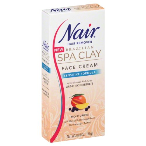 Nair Hair Remover, Face Cream, Brazilian Spa Clay, Sensitive Formula oz (19.5 g) 0.69
