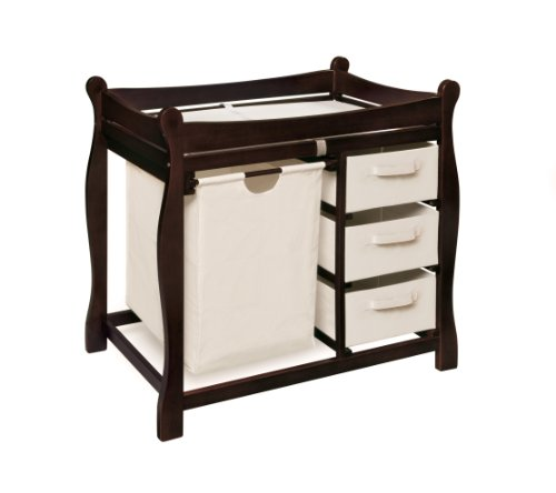Badger Basket Sleigh Style Changing Table with Hamper/Three Baskets, Espresso