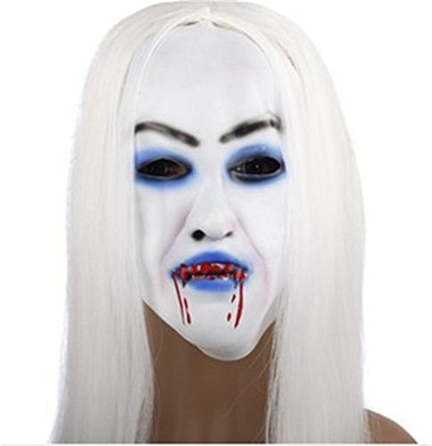 Prank toys horror white long hair ghost mask with blood