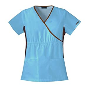 Scrubs - Cherokee Flex-I-Bles Mock Wrap Assorted Colors Solid Scrub Top from Cherokee