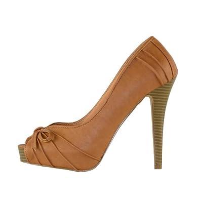 High-Heels-High-Heels-Pumps: S.D.S. Pumps - High Heels Peeptoes Braun Camel, Gr��e:36
