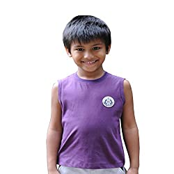 Snowflakes Boys' Violet Sleeveless Tshirt with Patch detailing