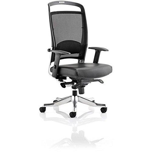dinamica OP000156Pioneer in pelle da ufficio con schienale alto con braccia–nero