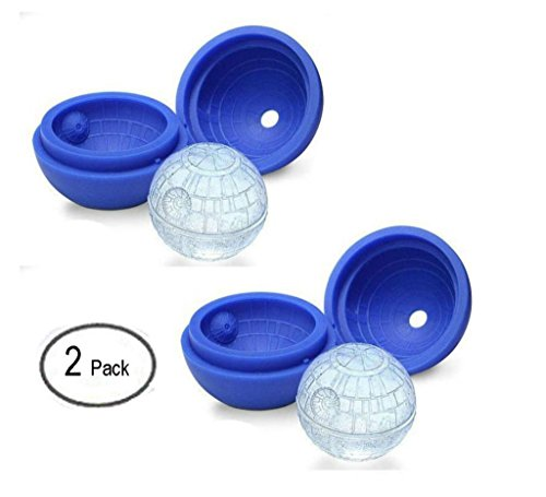 Want 2 Pack Uhome Blue Death Star Sphere Ice Ball Tray - Star War Flexible Round Sphere Ice Ball Maker For Easy Removal Of Ice Balls - Preferred Food Grade Silicone Ice Ball Mold - Great For Whiskey Scotch Bourbon And All Drinks-Keep Cold For Hours compare