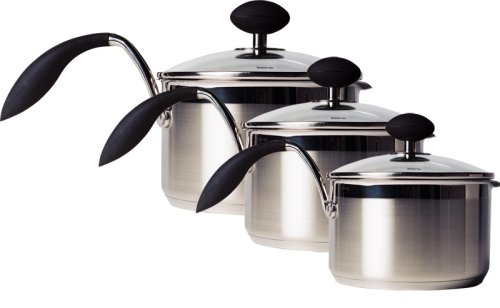 Imperial Eazigrip Ergonomic Stainless Steel 3 Piece Saucepan Set with Glass Lids, 16cm, 18cm and 20cm, Silver and Black