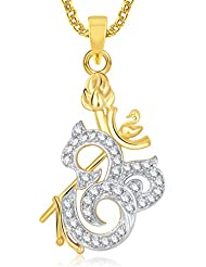 Om God Pendant With Chain Lockets For Men And Women Gold Plated In American Diamond GP322