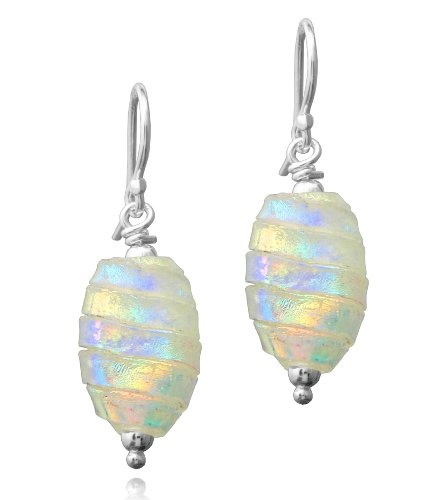 Sterling Silver Dichroic Glass Multi-Color Stripe Oval Bead Earrings