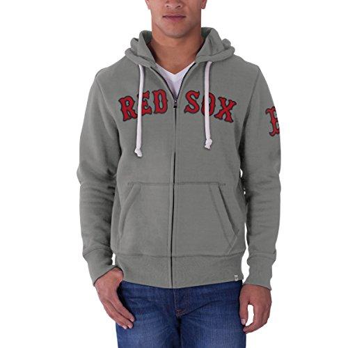 MLB Boston Red Sox Men's 47 Cross Check Full-Zip Pullover Jacket, Small, Wolf Grey