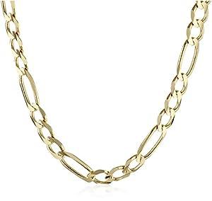 "Men's 14k Yellow Gold 4.6mm Italian Figaro Chain Necklace, 20"""
