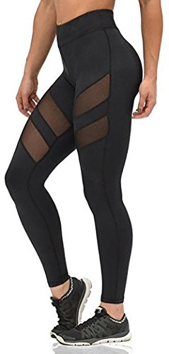 Nulibenna Women's Mesh Stretchy Workout Sportys Yoga Leggings Ninth Pants (Pink Brand Yoga Pants compare prices)