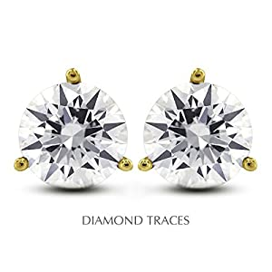 1.52 Carat Round Natural Diamond AGI Certified G-SI3 Ideal Cut 14k Yellow Gold 3-Prong Setting Classic Style Studs Earrings