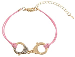 Ladies Pink with Gold Half Iced Out Handcuff Adjustable Bracelet