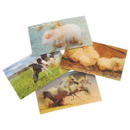 Lot Of 72 Assorted Farm Animal Theme Hologram Changing Stickers