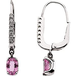 IceCarats Designer Jewelry 14K White 1/6 Ctw Diamond And Pink Sapphire Earrings 14K White Gold