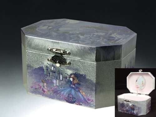 Purple Castle Musical Music Jewelry Box with Dancing Spinning Ballerina Plays Swan Lake Tune