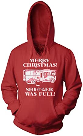 Christmas Vacation Merry Christmas Shitter Was Full Griswolds Red HOODIE Sweatshirt (Small)