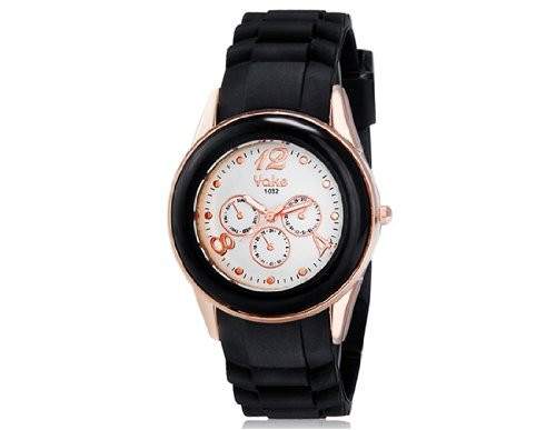 Yake 1032 Women'S Round Analog Watch With Silicone Strap (Black) M.