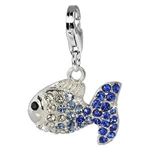 SilberDream Glitter Charm Swarowski Elements fish ICE blue, 925 Sterling Silver Charms Pendant with Lobster Clasp for Charms Bracelet, Necklace or Earring GSC001