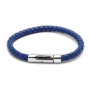 Chic-Net Lederarmbänder rund geflochten Farben Armband Leder Knopfverschluss unisex nickelfrei blau