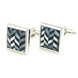 Peluche Black Brass Mother of Pearl Stone Cufflink