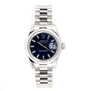 Rolex Ladys President New Style Heavy Band 18k White Gold Model 179179 Fluted Bezel Blue Stick Dial