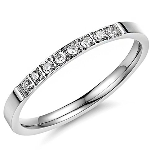 Women 2mm Titanium Stainless Steel Cubic Zirconia CZ Inlay White Gold Ring Wedding Engagement Silver Band Size 6 (Ring Diamond White Gold compare prices)
