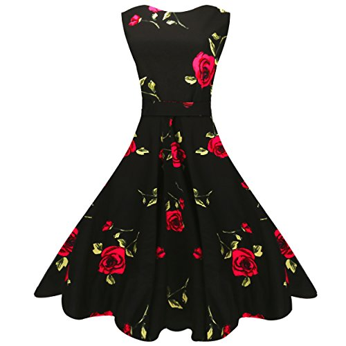 MaggieX Womens Vintage 1950's Floral Sleeveless Party Cocktail Dress 0