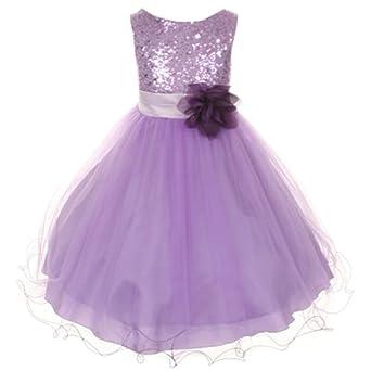 Amazon Kids Dream Lavender Sequin Mesh Flower Girl