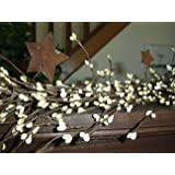 CWI Gifts Pip Berry and Star Garland, 40-Inch, Ivory Vanilla