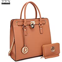 Dasein Large Satchel Handbag with Matching Wallet (Multiple Colors)
