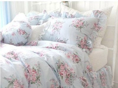 Shabby  Elegant Bedding on Shabby And Elegant Pretty Blue Roses Cotton 4pc Bedding Sheet Set King
