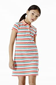 Girl's Short Sleeve Fine Stripe Pique Polo Dress