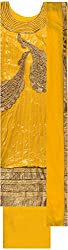 Classic Women's Cotton Unstitched Dress Material (Yellow)