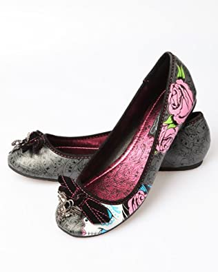 Iron Fist Womens 'Sugar Witch' Flat Shoe, Charcoal, US 7