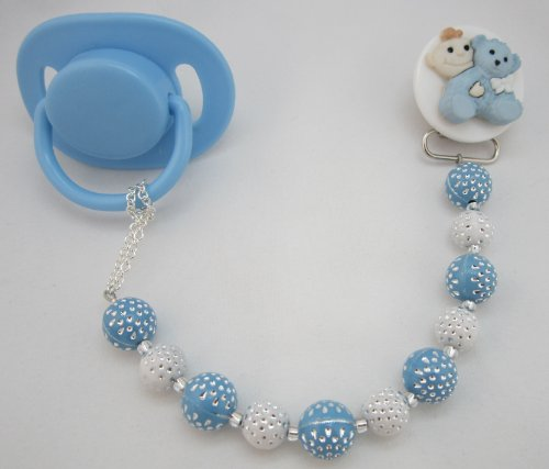 Baby Blue And White Teddy Bear Pastel Pacifier Clip