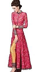 Pramukh Group Banglory Silk Pink Semi Stitched Anarkali - Dress Material