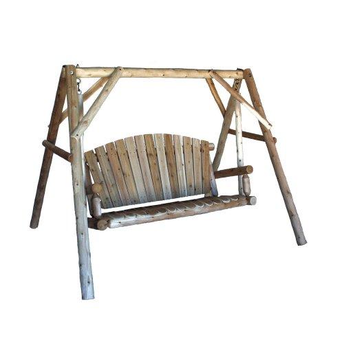 Lakeland Mills CFU128 5-Foot Cedar Log Yard Swing - Natural, Holds 3 Adults