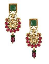 The Art Jewellery Square Emerald Stone & Ruby Drops, Temple Dangle&Drop Earrings For Women