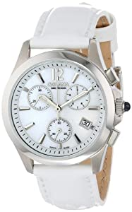 Golana Swiss Women'S Au200-7 Aura Pro White Mother-Of-Pearl Dial Chronograph Leather Women'S Watch