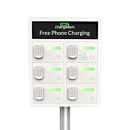 Secure Cell Phone Charging Station Locker w/ 6 Digital Combination Locking Bays & Universal Charging Tips Included for All Devices - By ChargeTech - (Model: PL6) [White] (Digital Locker compare prices)