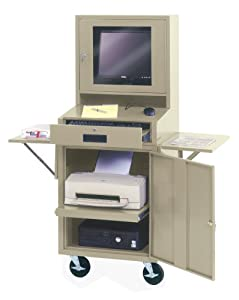 Edsal CSC6625PU 24-1/2-Inch Wide by 22-1/2-Inch Deep by 62-3/4-Inch High Mobile LCD Monitor Computer Cabinet, Putty