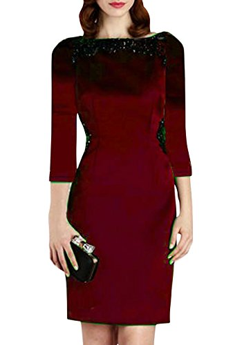 Dn Women'S Slim Round Collar Beading 3/4 Sleeve Short Wrap Dresses Wine S