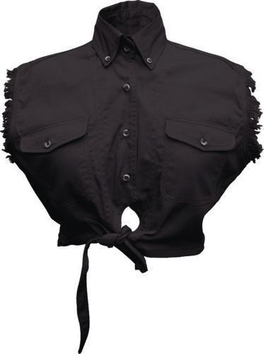 Ladies Black Sleeveless Tie-up Shirt 100% Cotton twill