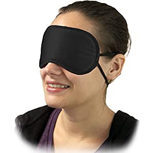 OptiSex Satin Love Double Strap Blindfold Eye Mask, Mystic Black
