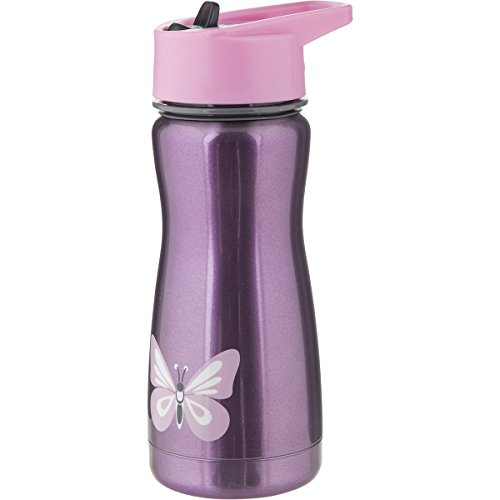 Eco Vessel Frost Kids Insulated Stainless Steel Water Bottle with Flip Straw (13-Ounce, Purple with Butterfly)