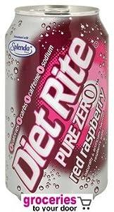 Diet Rite Pure Zero Red Raspberry Soda, 12 oz Can (Pack of 24)