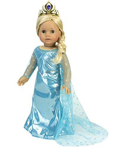 "18"" Doll Dress Inspired by Princess Elsa, Ice Princess Dress with Sparkle Cape & Gold Tiara"