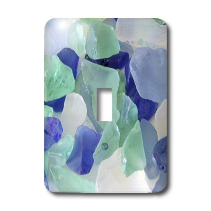 3dRose LLC lsp_39654_1 Blue and Seafoam Green Sea Glass, Single Toggle Switch