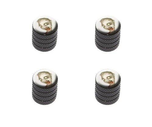 Zombie Man - Undead Tire Rim Wheel Aluminum Valve Stem Caps - Black Color