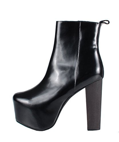 Jeffrey Campbell F1583 Black Leather - Stivaletti Neri Pelle lucida
